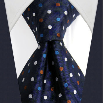 U24 Mens Ties Navy Multicolor Polka Dot Silk Handmade Wedding Fashion Classic Brand New Dress Men's Accessories Necktie