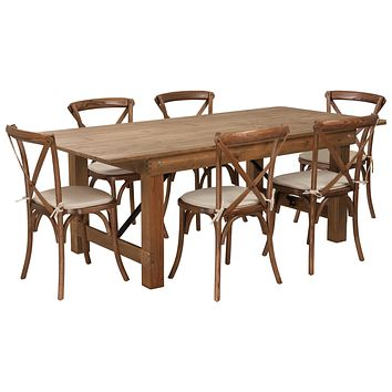 HERCULES Series 7' x 40'' Folding Farm Table Set with 6 Cross Back Chairs and Cushions