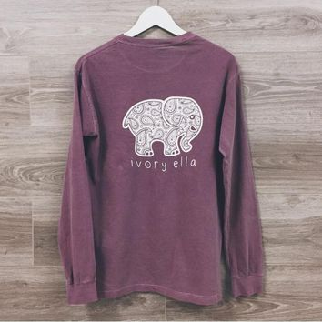 Cute Elephant Print Long Sleeve Shirt
