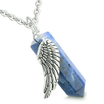 Amulet Angel Wing Magic Wand Crystal Point Sodalite Healing and Pendant 18 Inch Necklace