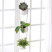 Mkono Ceramic Succulent Plant Hanging Planter Set with 3 Round Plant Pots--White