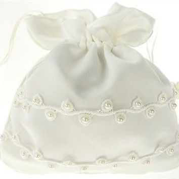 Wedding Bridal Shower Money Pouch Bag, 8-inch, Organza & Pearl, Ivory, CLOSEOUT