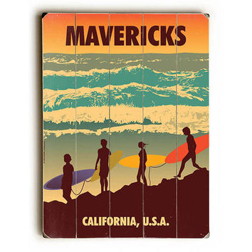 Mavericks by American Flat Wood Sign