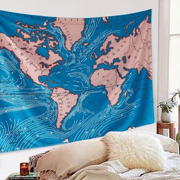 World Ocean Current Map Boho Fabric Wall Tapestry