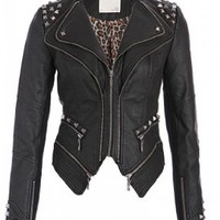 Pretty Attitude Women's Studded Punk Style PU Leather Slim Fit Moto Jacket