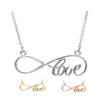 Love Infinity Pendant Necklace - Sterling Silver or 14k Gold