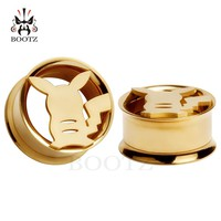 2017 Fashion Pair selling jewelry stainless steel pikachu ear plugs body piercing tunnels 2pcs lot free shipping ear stretchers