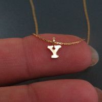 Tiny gold initial necklace , Tiny gold letter necklace, Simple gold jewelry, Dainty necklace