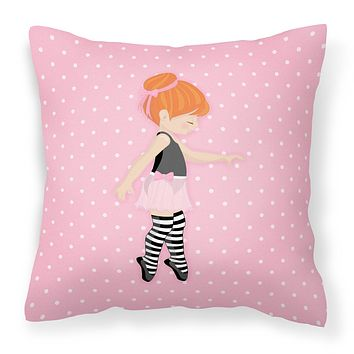 Ballerina Red Head Releve Fabric Decorative Pillow BB5168PW1818