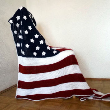 Afghan Crochet Blanket Modern Throw - American Flag Afghan - MTO