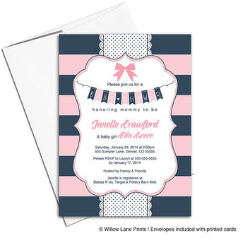 Navy and Pink Baby Shower invitations Girls Nautical Stripes, Bow, Polkadots | DIY Printable or Printed - WLP00785