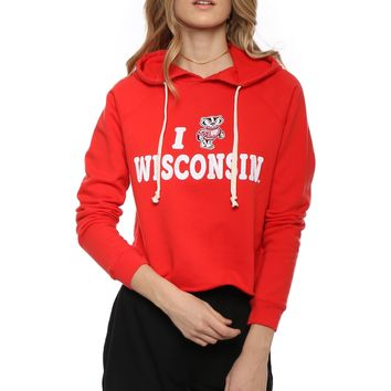 Retro Brand Wisconsin Cropped Hoodie