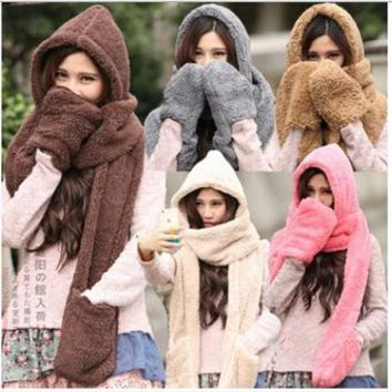 Winter Warm Women  Solid Scarf Hoodie Gloves Set  Pocket Earflap Hat Long Scarf Shawl Snood Wraps Free shipping
