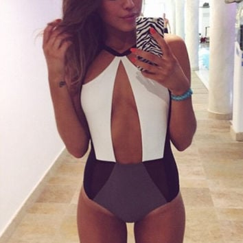 Color Block Cut-Out Monokini