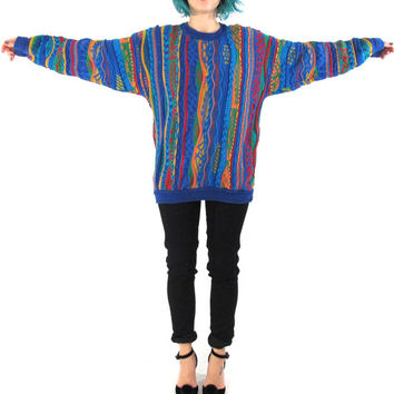 80s 90s Coogi Style Sweater Colorful Hip Hop Knit Jumper Abstract Avant Garde Textured Knit Sweater Slouchy Pullover Unisex Jumper (S/M)