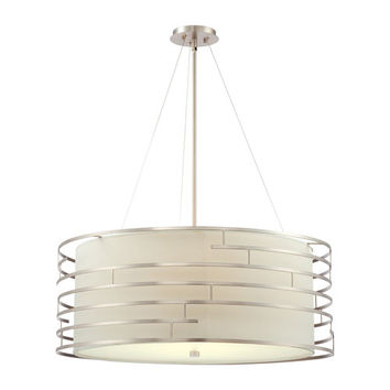 Philips 190216836 Labyrinth Satin Nickel Four-Light Incandescent Pendant with White Fabric Shade with Etched Glass Diffuser