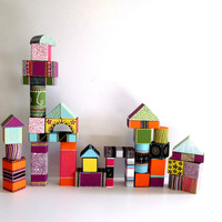 Hand Painted Wooden Building blocks Set of thirty six 36 wooden blocks set