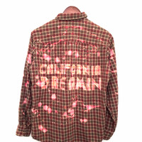 California Dreamin Shirt in Bleached Plaid Flannel - Brown