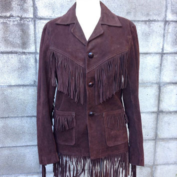 Fringe Leather Jacket 1970s Fringed Suede Brown Coat Raphael men's size 36