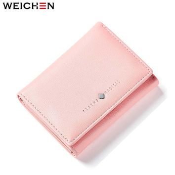 WEICHEN Brand Design Short Women's Wallet Female Lady Mini Purse Card Holder Coin Purses Brand Hasp Casual Black Wallet Ladies