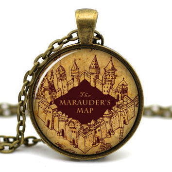 Harry Potter Necklace, Marauder's Map, Dumbledore Hogwarts Gryffindor, Moody Wormtail Padfoot and Prongs