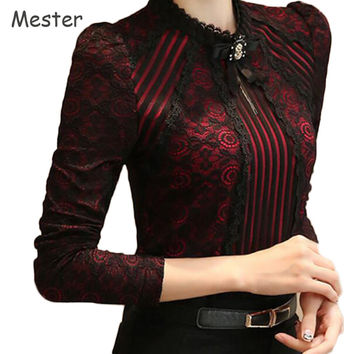 Women Vintage Long Sleeve Black Lace Bow Blouse Ladies Elegant Stand Collar Floral Embroidered Crochet Lace Top Plus Size Shirt