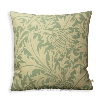 "William Morris ""Thistle"" Vintage Retro Floral Eau de Nil 18"" x 18"" Sofa Cushion Pillow Cover"