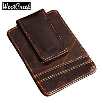 ICIKFV3 Men money clips vintage genuine leather front pocket clamp for money holder magnet magic money clip wallet with card ID Case