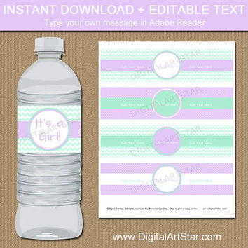 Instant Download Girl Baby Shower Water Labels - Lavender and Mint Party Decorations - Girl Birthday Party Decor - DIY Party Printables