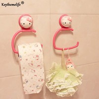 Keythemelife Kitchen Bathroom Hello kitty Hook Style Towel Rack Hook Up Plastic Storage Rack Rag Hanging Utility B