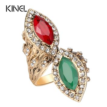 Kinel Vintage Red&Green Stone Rings For Women Antique Gold Crystal Engagement Ring Finger Party Accessories Turkish Jewelry