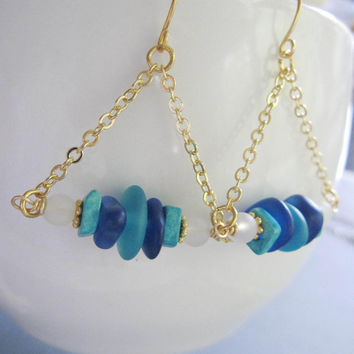 Aquamarine Sea Glass Earrings, Trapeze Sea Glass, Gold Dangles, Beach Earrings, Handmade Earrings, Beach Jewelry