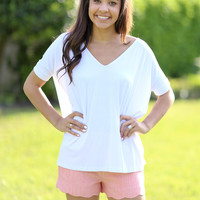 V Neck Piko Top- White