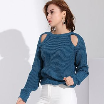 Oversize Open Shoulder Knitted Sweater