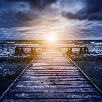 Old Wooden Jetty During Storm On The Ocean. Abstract Light - Art Print