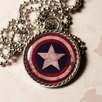 Captain America Shield Logo Distressed Cameo Pendant Necklace