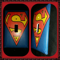 Superman logo themed light switch cover handmade DC comics