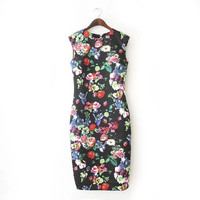 Summer Women's Fashion Print Slim Sleeveless Prom Dress Dress One Piece Dress [4917857732]