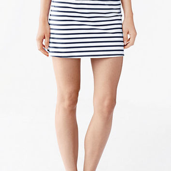 Women's Beach Living SwimMini Swim Skirt With Tummy Control - Classic Stripe from Lands' End