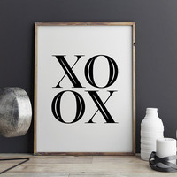 XOXO Canvas Wall Art, Scandinavian Printable Poster, Black and White, Love Print Nursery Paintings for Living Room Wall Decor