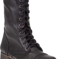 Steve Madden Troopa Lace-up Boot Black Leather - Jildor Shoes, Since 1949