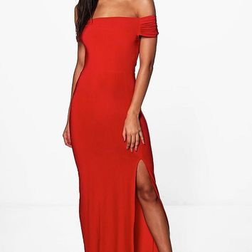 Jamie Slinky Off Shoulder Maxi Dress | Boohoo