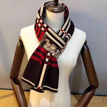 """""""Burberry""""Man Casual Fashion Classic Comfortable Double Sided Square Stripe Pattern Scarf"""