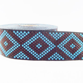 Geometric Dotted Diamond Woven Embroidered Jacquard Trim Ribbon - Brown Black Blue - 34mm - 1 Meter  or 3.3 Feet or 1.09 Yards