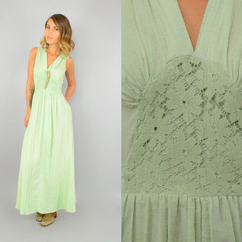 70's SEAFOAM hippie Cotton bohemian PLEATED crochet lace romantic Maxi DRESS, small