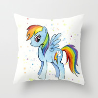 Rainbow Dash Watercolor | My Little Pony Throw Pillow by Olechka