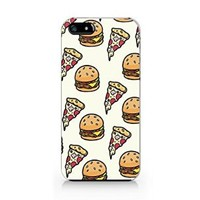 Pizza and Burger Pattern Plastic Phone Case for Iphone 4 4s