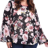 Plus Size Floral Printed Bell Sleeve Blouse