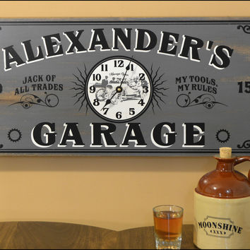 Personalized Garage Clock Vintage Style Sign