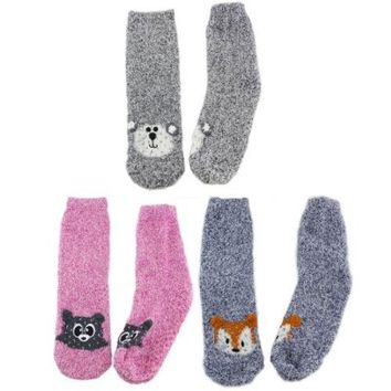 Super Soft Warm Microfiber Fuzzy Animal Socks - Assortment B - 3 Pairs - Value Pack